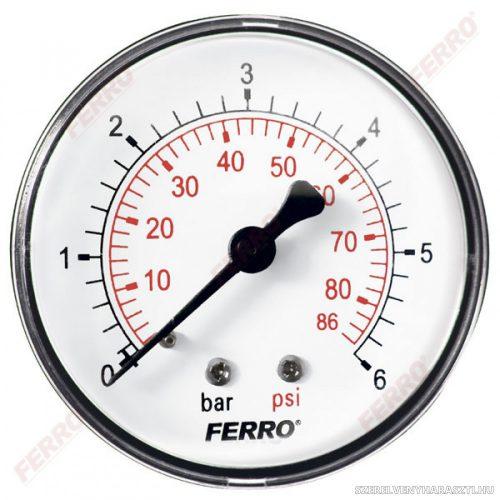 """Nyomásmérő hátsó csatlakozású 6 bar, Ø63 mm, 1/4"""""""
