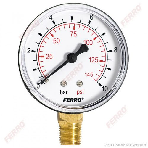 """Nyomásmérő alsós csatlakozású 10 bar, Ø63 mm, 1/4"""""""