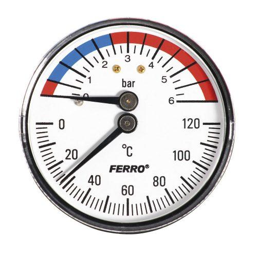"Termomanométer hátsós csatl. 0-120°C, 6 bar, Ø63 mm, 1/2"""