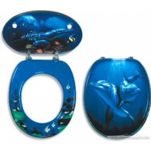 delfin wc ülőke fém zsanérokkal, festett MDF